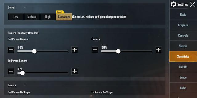 setting sensivitas pubg mobile pro player