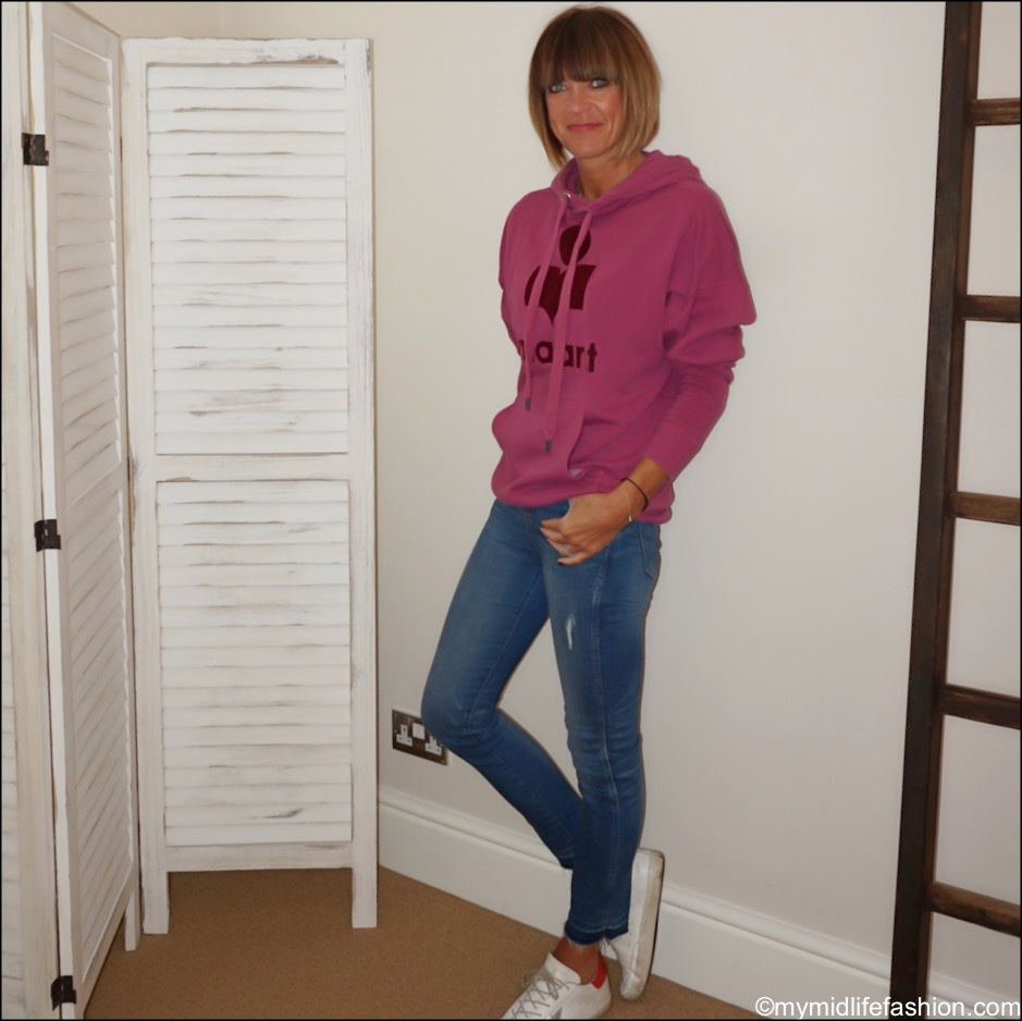 my midlife fashion, Isabel Marant Etoile sweatshirt, j crew jeans, golden goose superstar low top leather trainers
