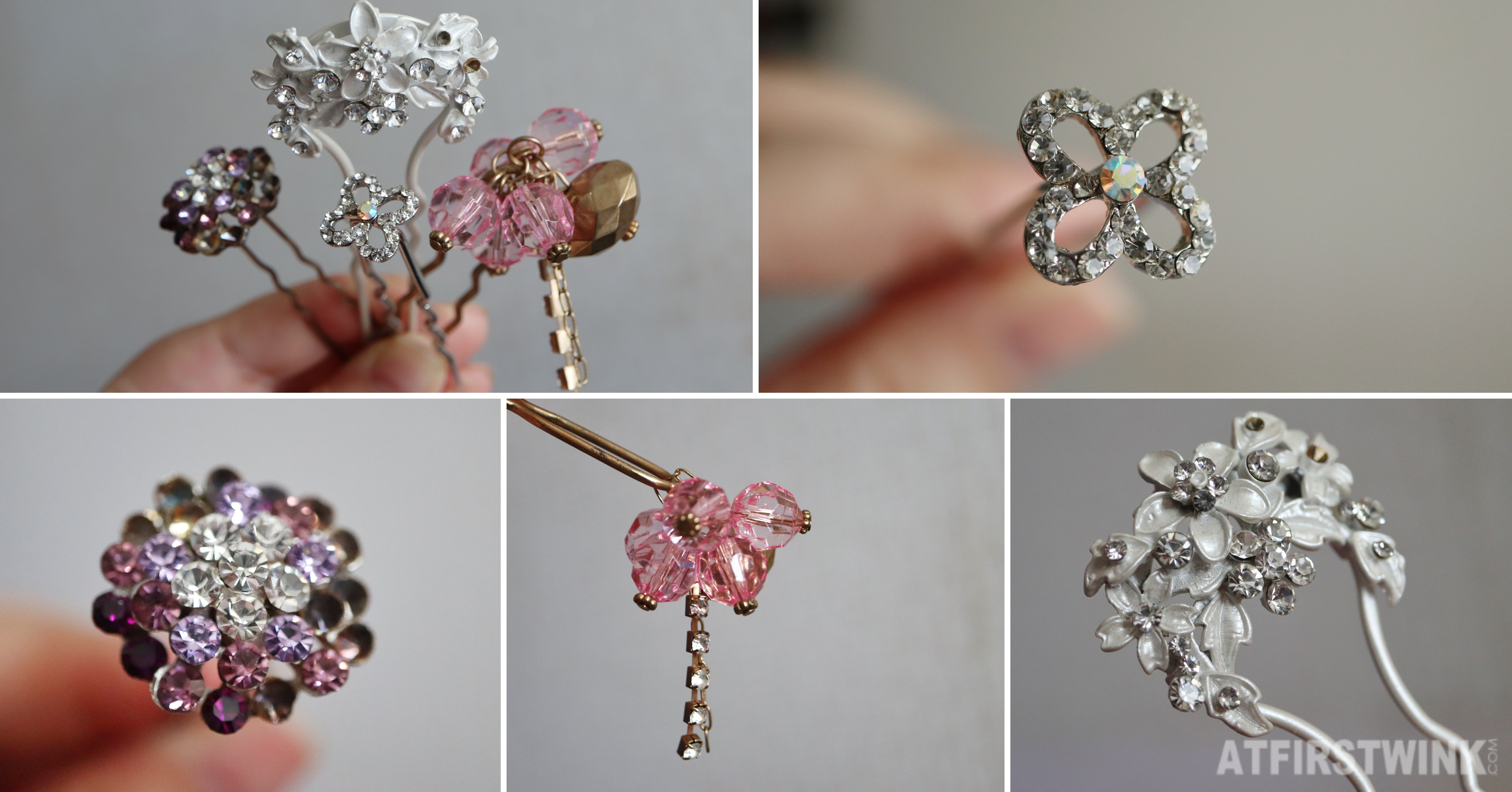 Hairpins Japan Hong Kong crystals pink purple silver flowers clover