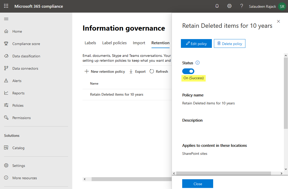 office 365 compliance policy status