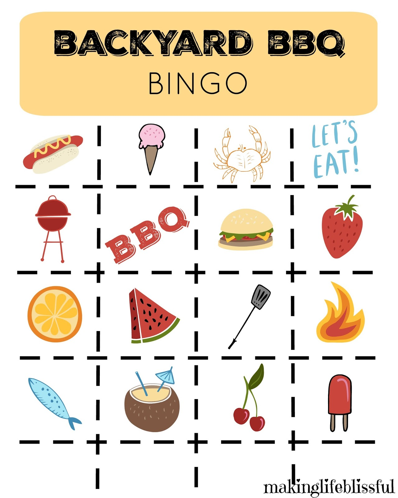 Printable BBQ Picnic Bingo and Invites | Making Life Blissful