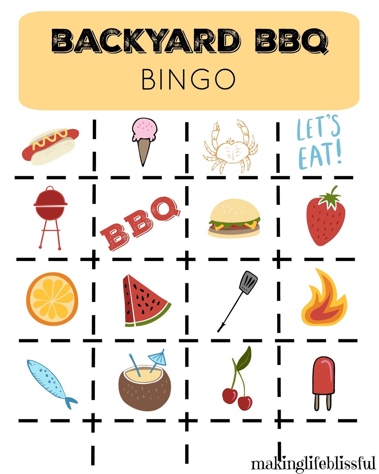 Printable Bbq Picnic Bingo And Invites