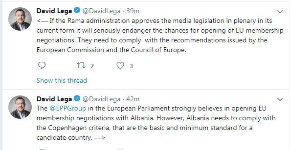 David Lega: if the anti-defamation packages passes, Albania risks opening negotiations