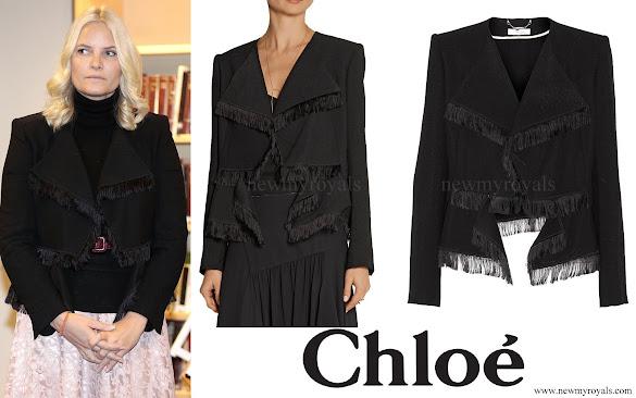 Crown Princess Mette-Marit wore Chloe Fringed jacquard jacket