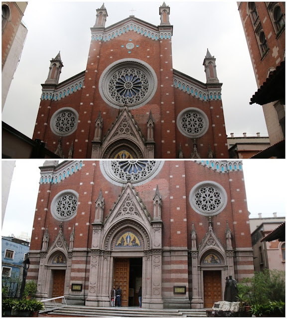 A close-up view of St Anthony of Padua Church along Istiklal Street in Istanbul, Turkey