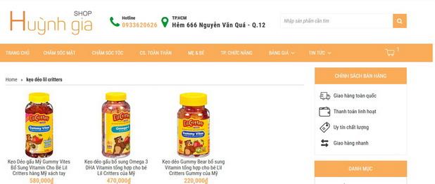 Hướng dẫn tìm mua thuốc bổ kẹo dẻo bổ sung vitamin cho bé hàng Mỹ xách tay www.shophuynhgia.com
