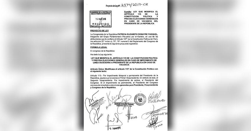 Congresistas PPK presentan proyecto que plantea elecciones generales en caso de vacancia