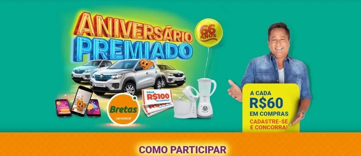 Promoção Bretas 2020 Aniversário 66 Anos Leonardo - Supermercados Cadastro Prêmios