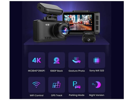Dododuck 4k Dual Dash Cam Front and Rear