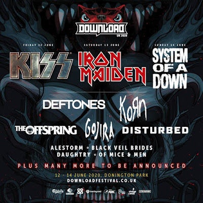 KISS, IRON MAIDEN and SYSTEM OF A DOWN announced as 2020 Download Festival Headliners