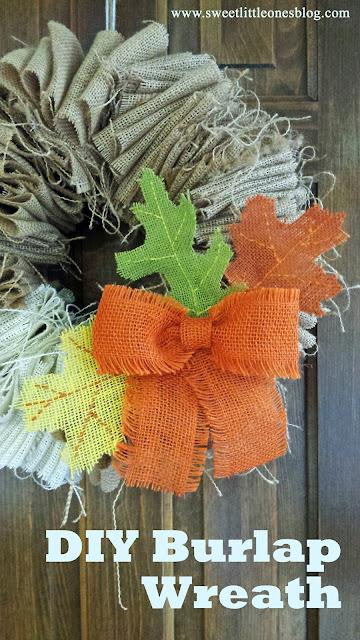 DIY Burlap Wreath - www.sweetlittleonesblog.com