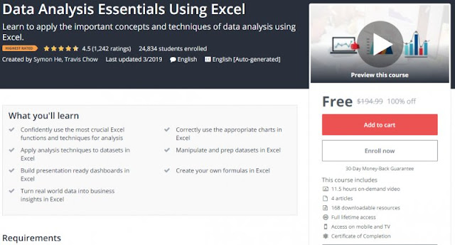 [100% Off] Data Analysis Essentials Using Excel| Worth 194,99$