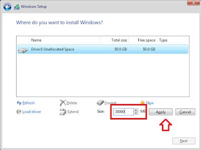 Cara Install Windows 10 - Membuat Ukuran Partisi