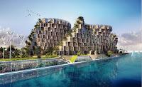 Bir deniz kenarındaki modern bir toplu konut projesi tasarımı