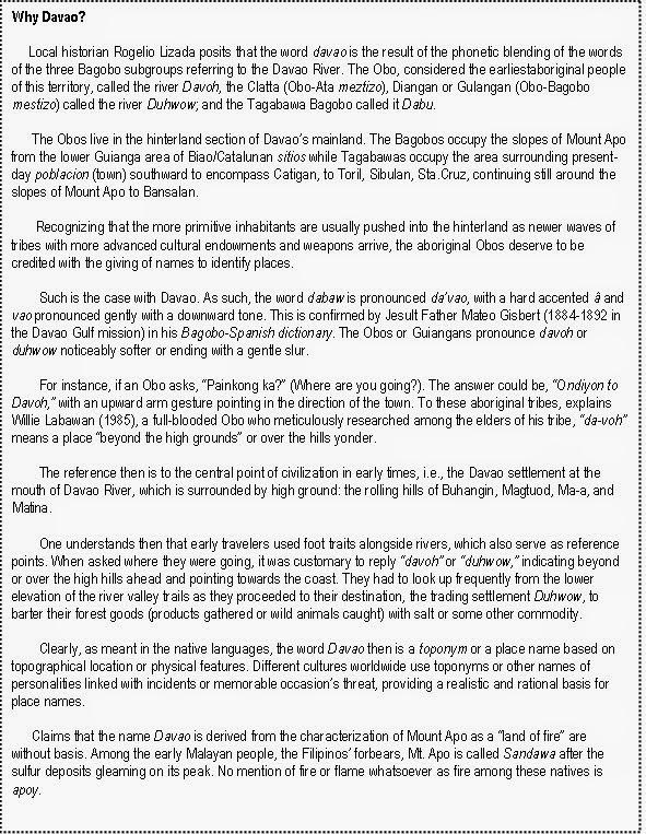 Contemporary Davao & It's Progress: Indigenous People of Davao