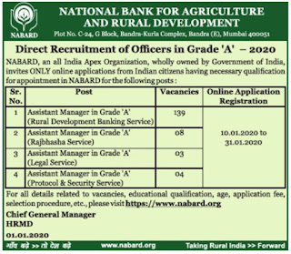 NABARD Bank Assistant Manager RDBS Vacancies Recruitment Exam 2020 Notification 154 Govt Bank Jobs Online Exam Pattern and Syllabus