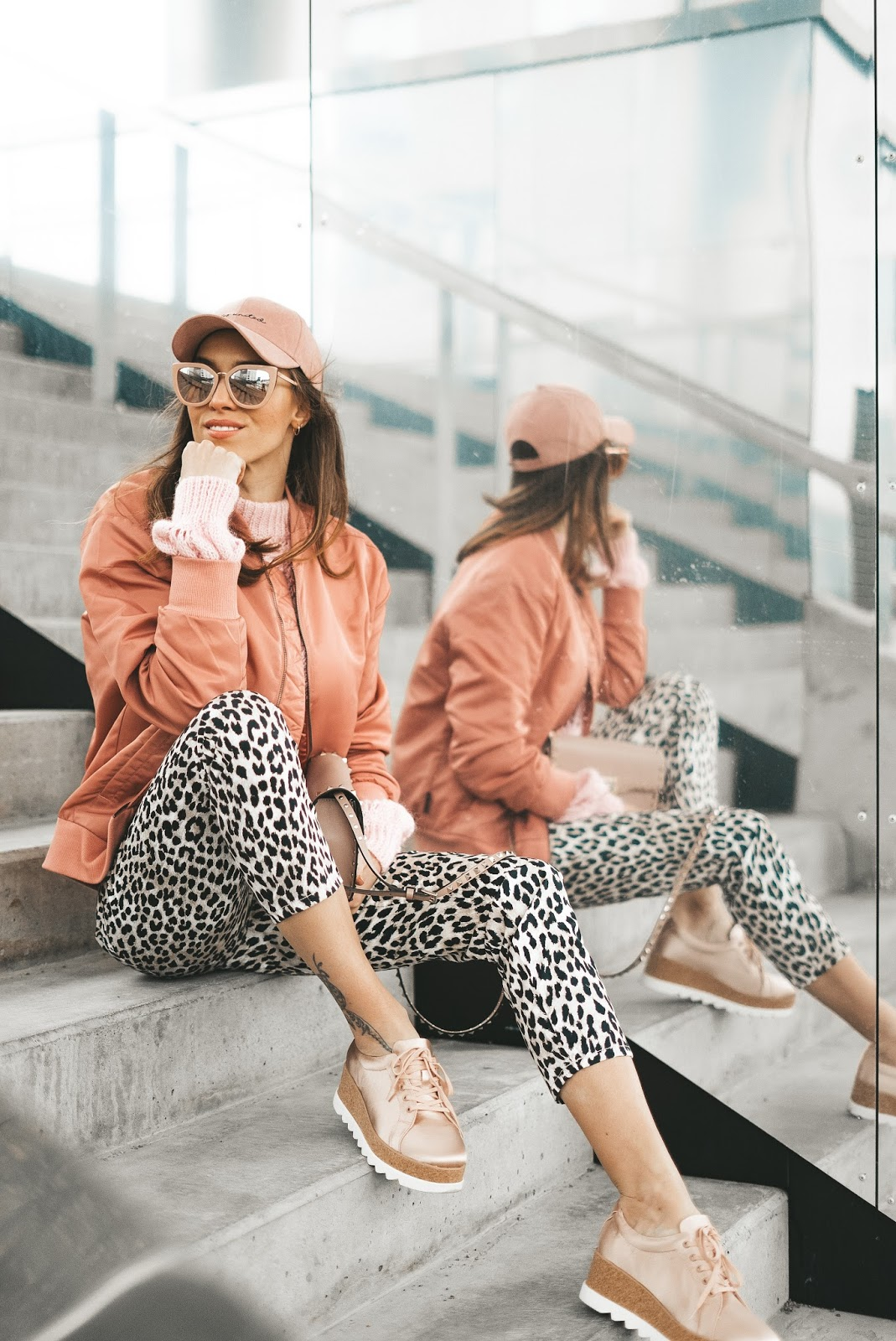 leopard print pants pink bomber outfit