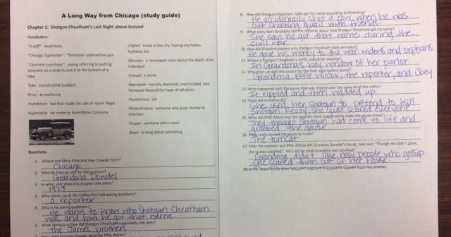 a long way from chicago study guide 1 4 rh readingwithmrsklumper blogspot com Long Way From Chicago Vocabulary a long way from chicago study guide answers