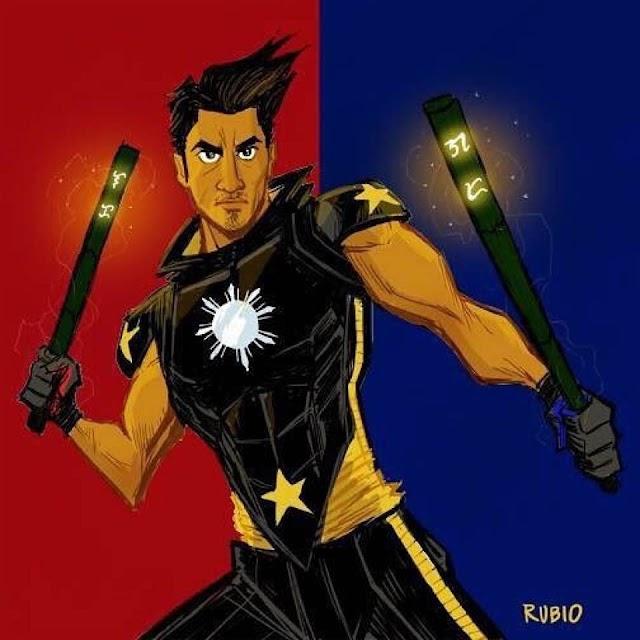 Filipino American superhero w enchanted eskrima sticks by Bobby Rubio