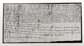L'arquebisbe de Tarragona, el bisbe Ramon de Vic i altres personalitats eclesiàstiques i civils, signaren, l'any 1098, aquest document d'erecció d'un monestir o comunitat de canonges agustiniana per al culte de Santa Maria de Manresa. Arxiu de la Seu de Manresa.