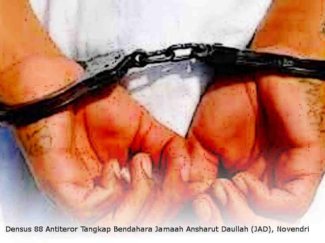 Densus 88 Antiteror Tangkap Bendahara Jamaah Ansharut Daullah (JAD), Novendri di Padang