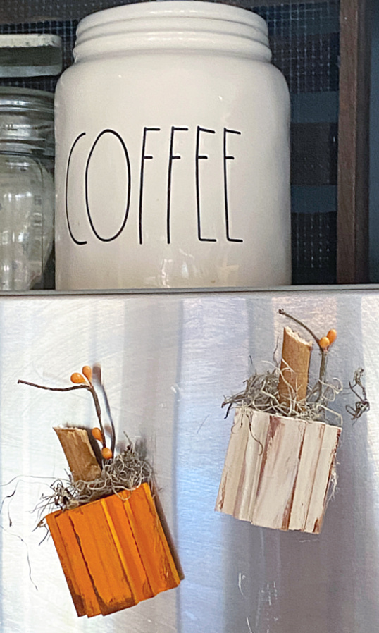 fall magnets and a coffee jar