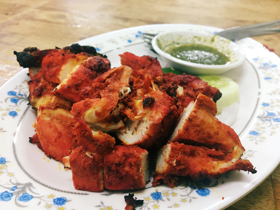 A closeup of the chicken tikka from pak putra tandoori malacca