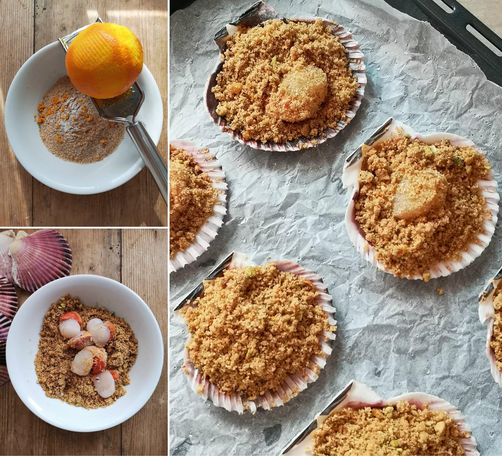 capesante gratinate con pistacchi e scorza d'arancia