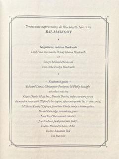 "zaproszenie na bal maskowy w Blackheath, ""Siedem śmierci Evelyn Hardcastle"" Stuart Turton, fot. paratexterka ©"