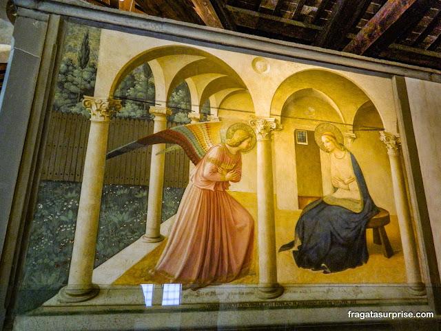 """""""A Anunciação"""", afresco de Fra Angelico no Museu de San Marco, Florença"""