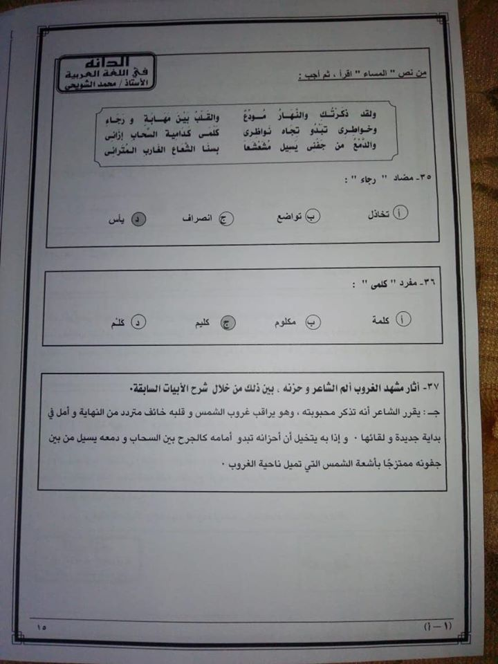 نموذج امتحان اللغة العربية للثانوية العامة 2020 13