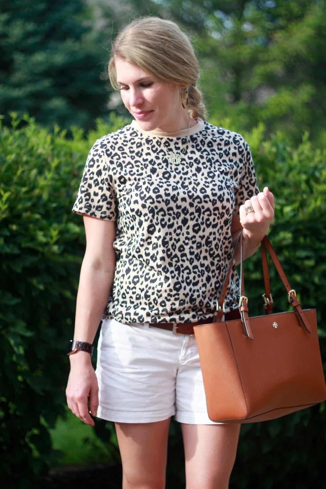 leopard tee, white shorts, cognac suede wedges, cognac Tory Burch tote,