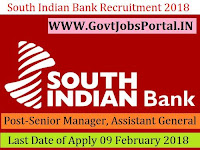 South Indian Bank Recruitment 2018 – Senior Manager, Chief Manager & Assistant General