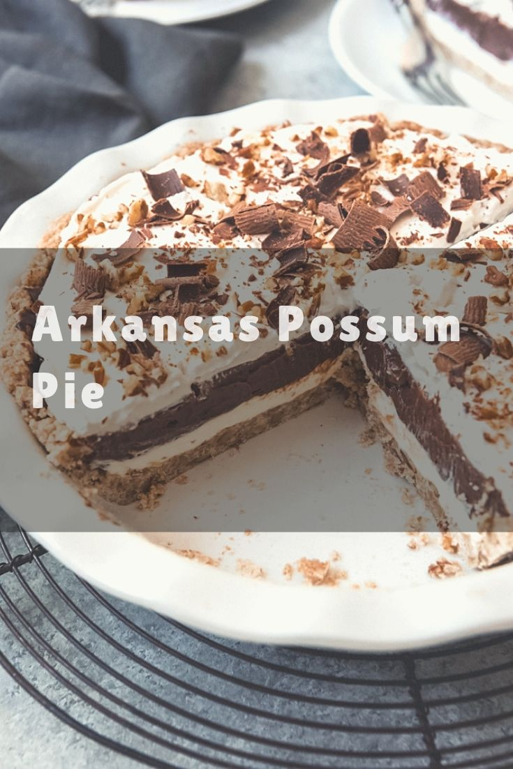 Arkansas Possum Pie is a creamy, layered chocolate and cream cheese pie in a pecan shortbread crust that is sure to please!