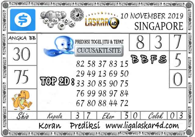 Prediksi Togel SINGAPORE LASKAR4D 10  NOVEMBER 2019