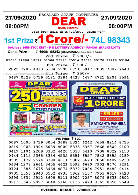 Nagaland State Lottery Sambad 27-09-2020 Today Result 8 PM