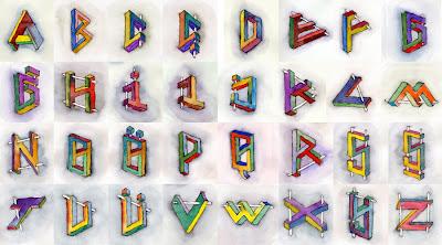 Sulu boya ile çizilmiş imkansız paradoks harfler alfabesi