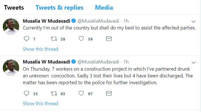 Day Of Death As 3 Workers Die At Mudavadi's Residence In Karen