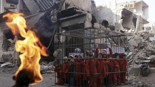 tahanan isis Dibakar hidup - hidup
