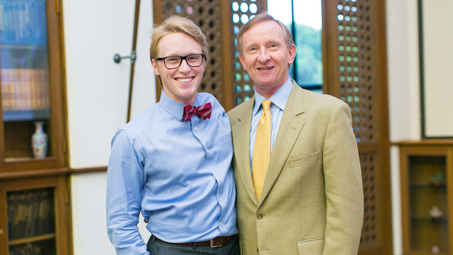 Trinity University engineering grad Eric Schluter and his dad, Thomas