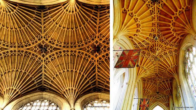 Entalhes em pedra no teto da Abadia de Bath