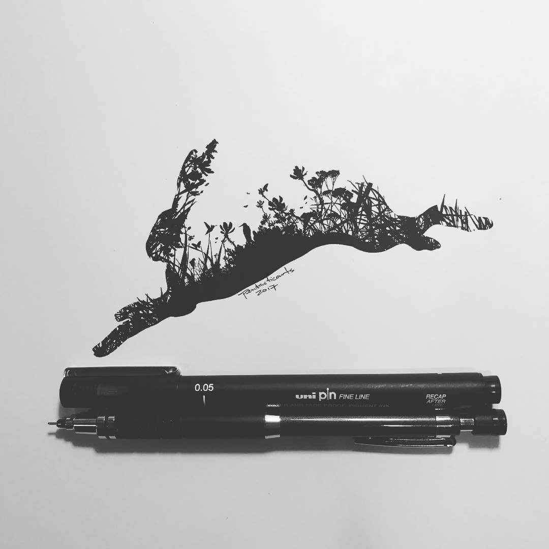 06-Wild-Silhouette-Hare-Joseph-Catimbang-Black-and-white-Ink-Graphic-Design-Art-www-designstack-co