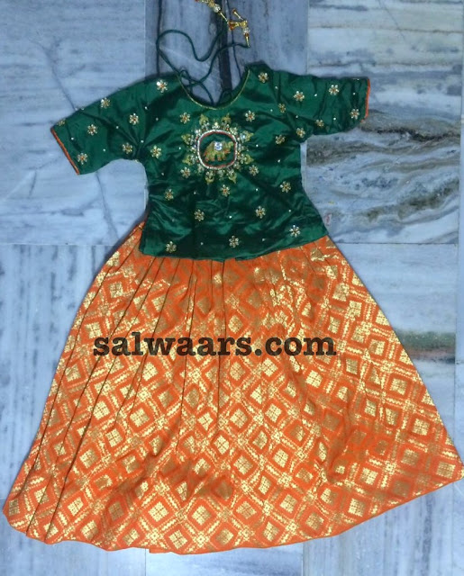 Orange Brocade Bottle Green Lehenga