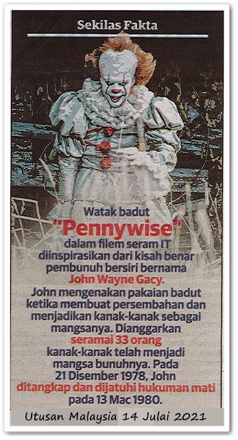 "Sekilas fakta - Watak badut ""Pennywise"""