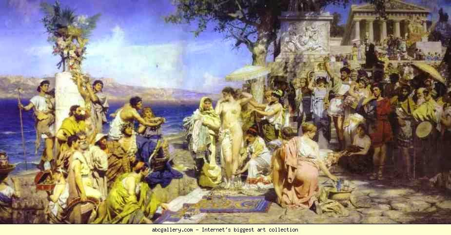 Phyrne at the festival of Poseidon in Eleusina
