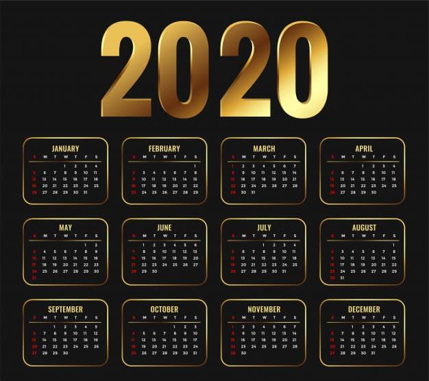 Plantilla de calendario 2020 con estilo dorado