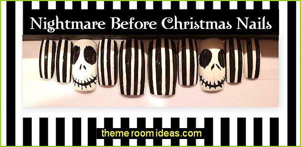 Nightmare Before Christmas decorating nails jack skellington nail design