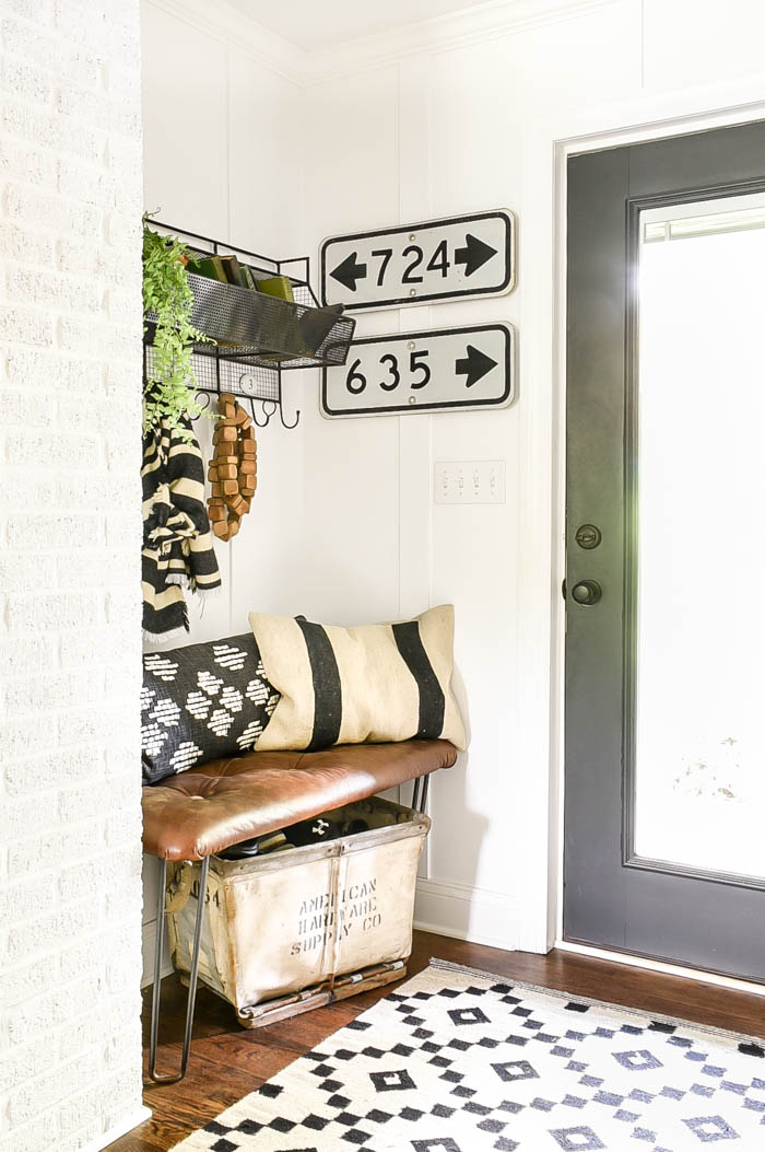 Vintage industrial modern mudroom decor