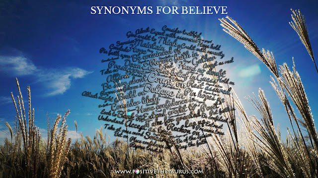 believe synonym positive word cloud
