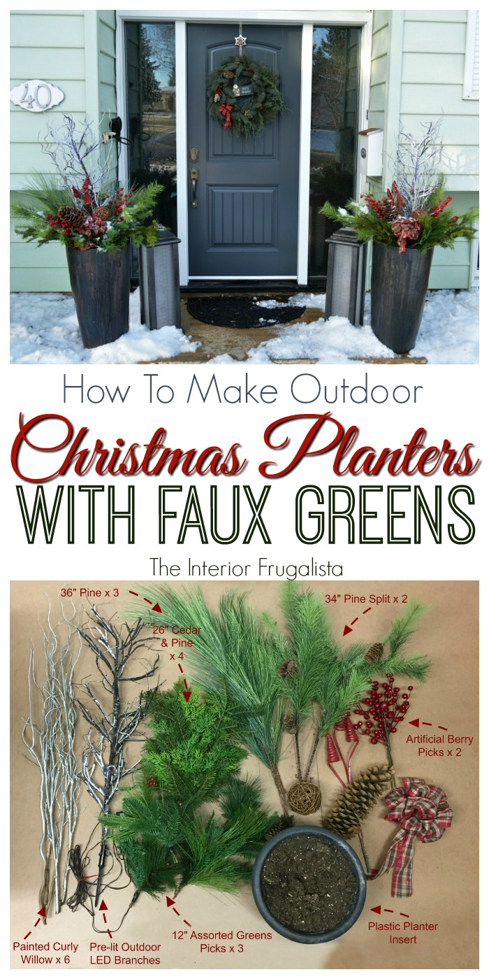 How to make Outdoor Christmas Planters with artificial greens